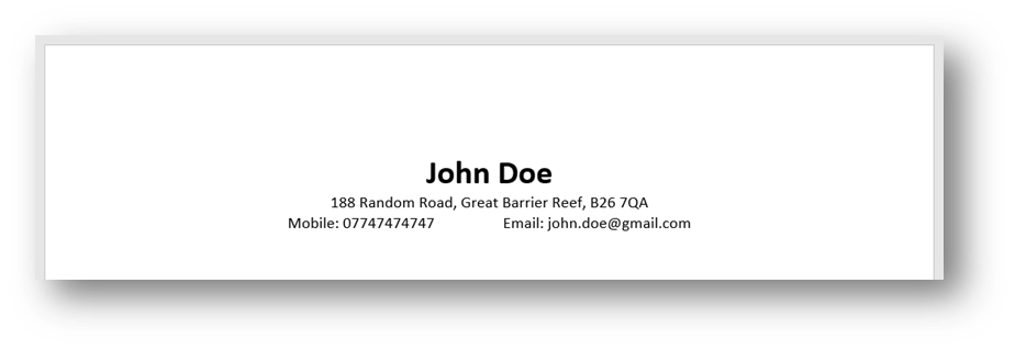 Student Contact Details Example CV