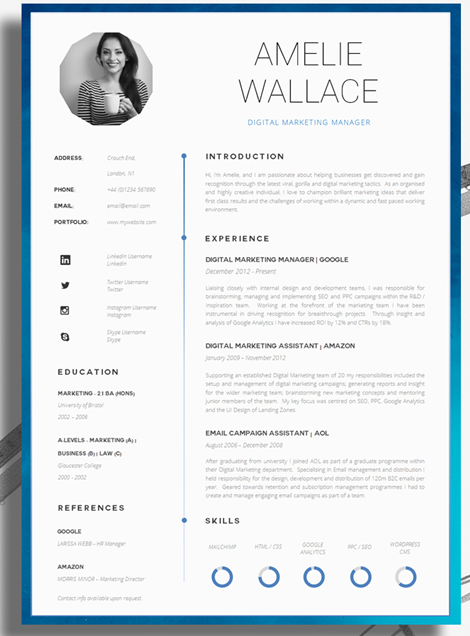 Unique different cv template example for digital marketer